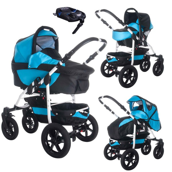 Bebebi Sidney | ISOFIX base & car seat | 4 in 1 pram & pushchair set | air wheels