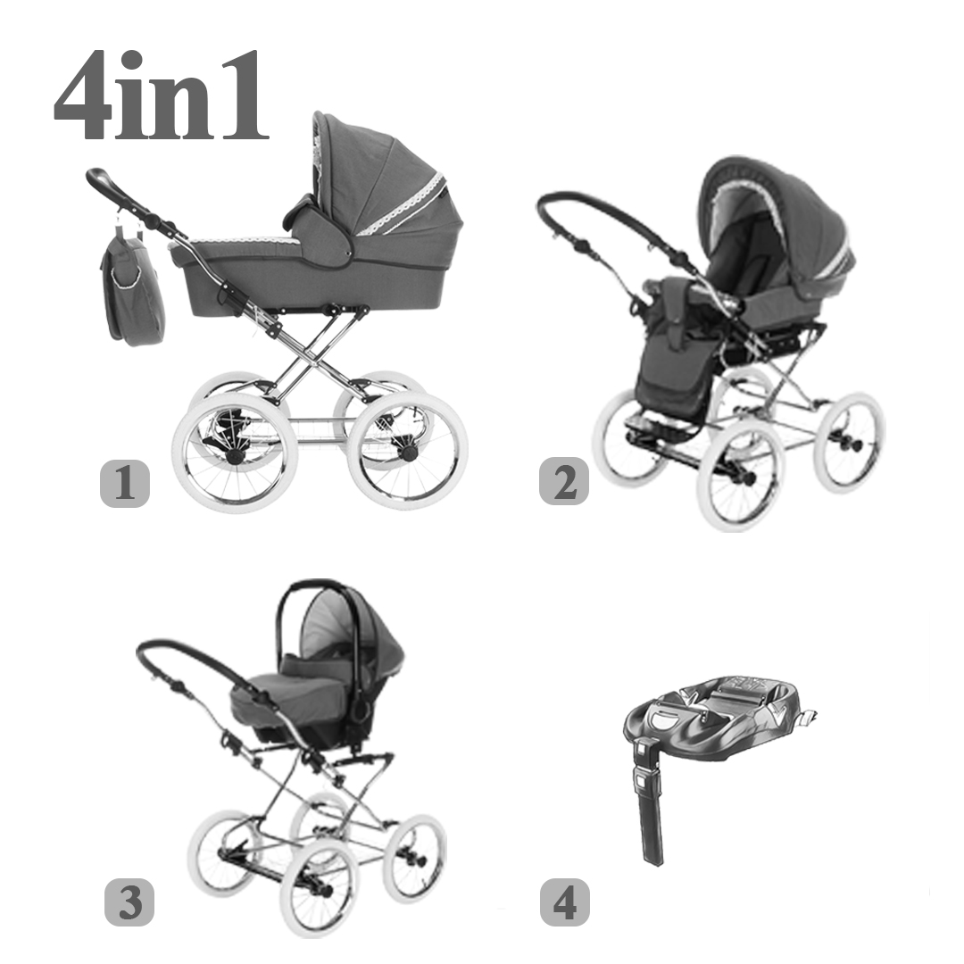 kinderwagen sets 4 in 1 isofix pro kinderwagen. Black Bedroom Furniture Sets. Home Design Ideas